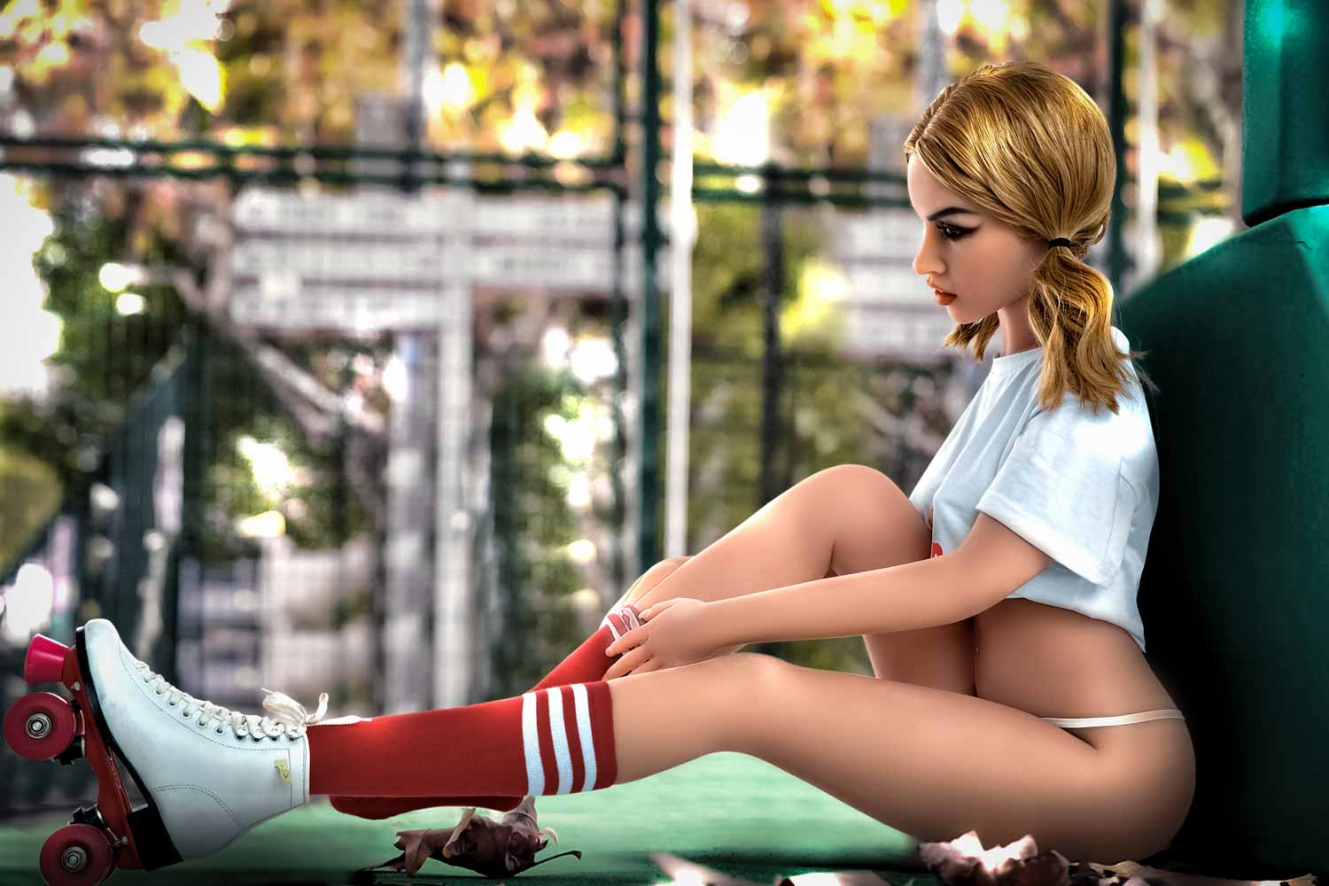 Sex doll sitting on the playground taking off socks