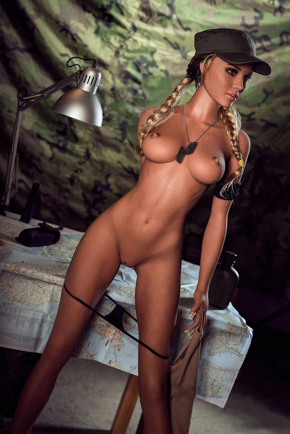 Sex doll taking off thong