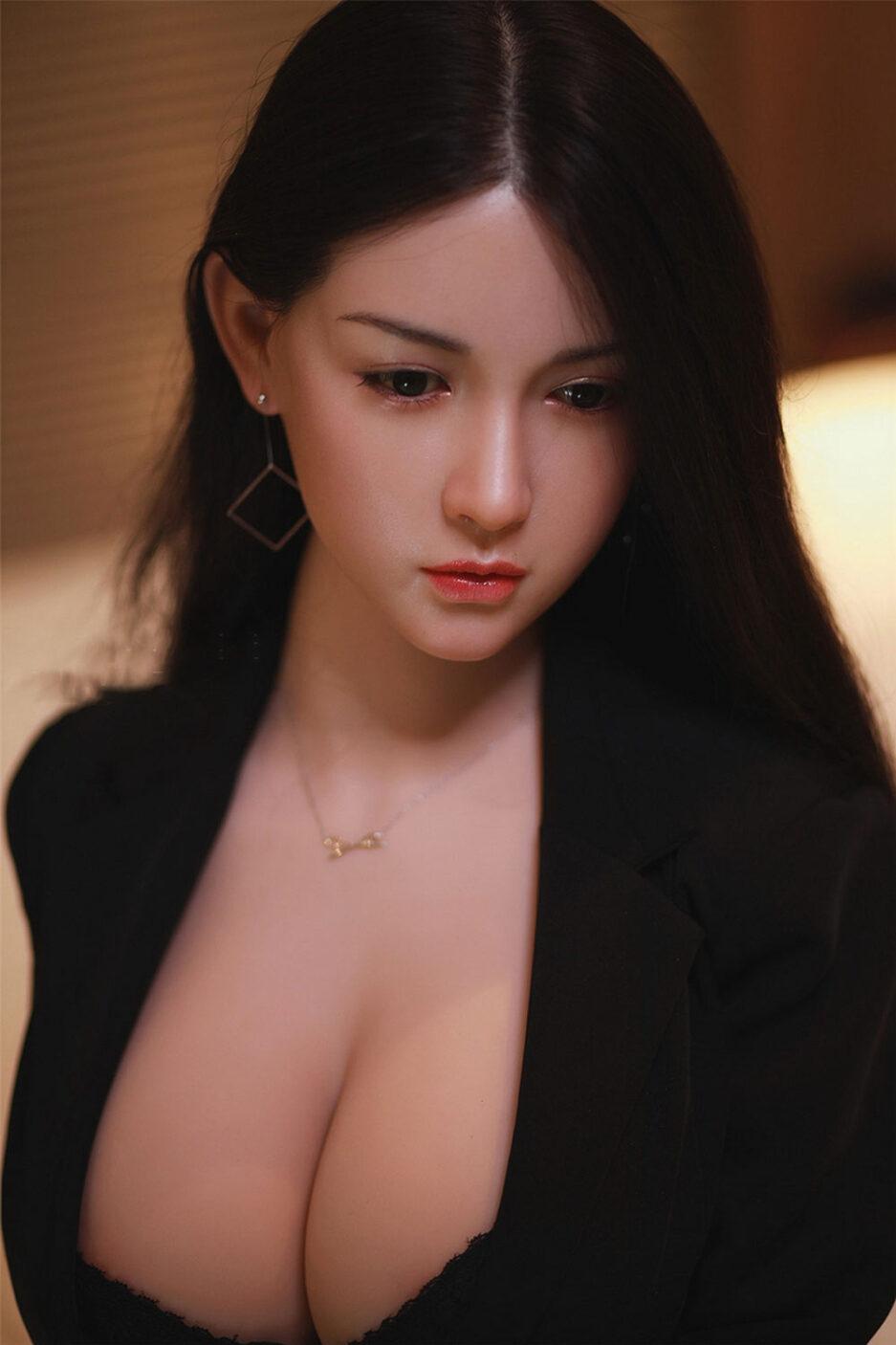Black long hair silicone sex doll