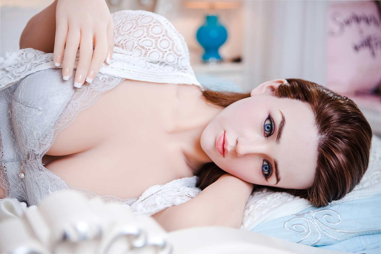 Blue eyed silicone sex doll