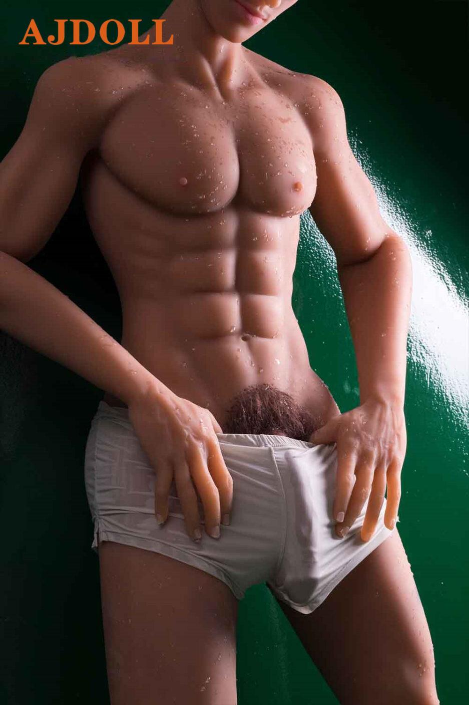 Male sex doll in white underwear