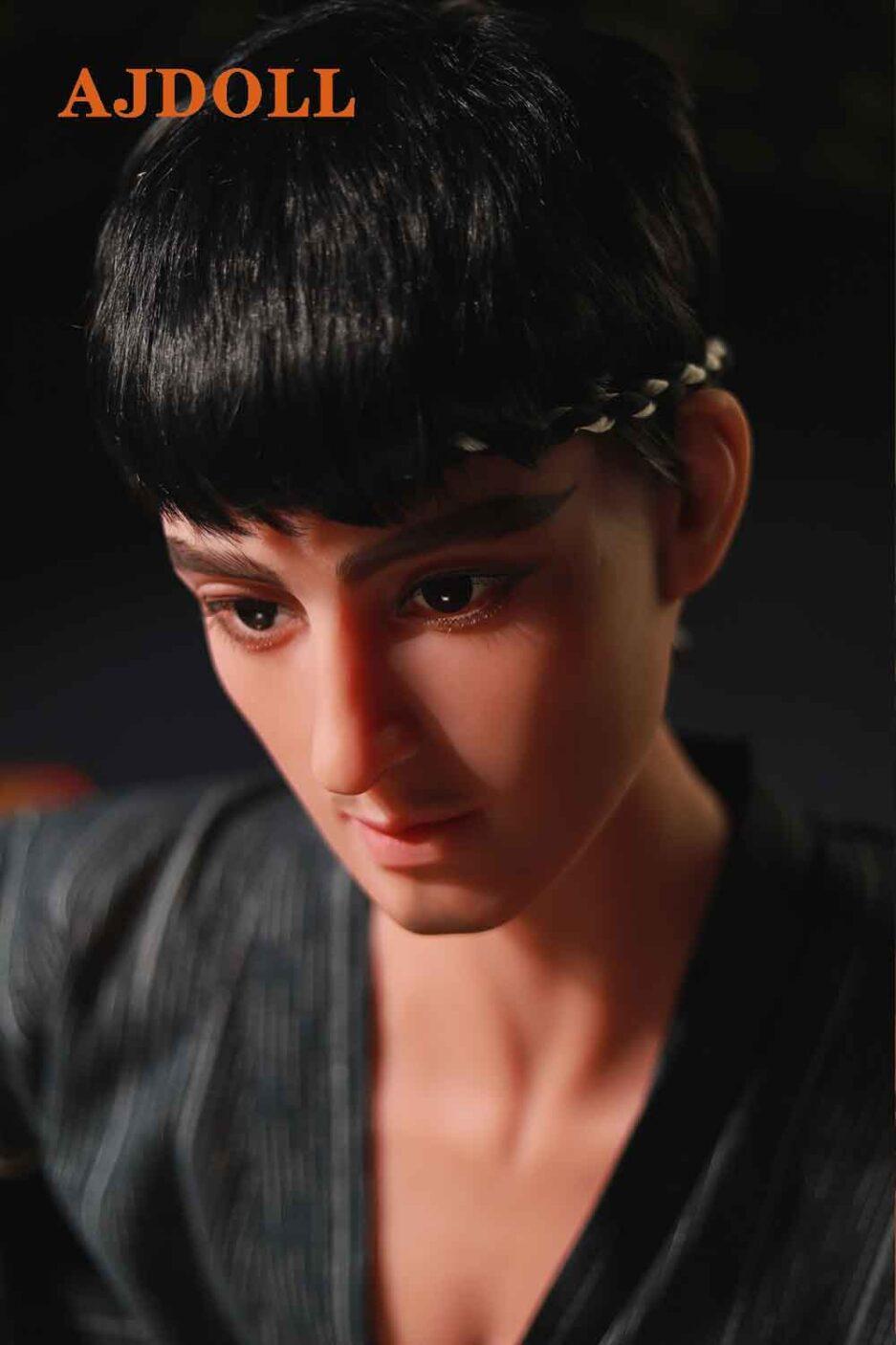 Male sex doll with bushy eyebrows