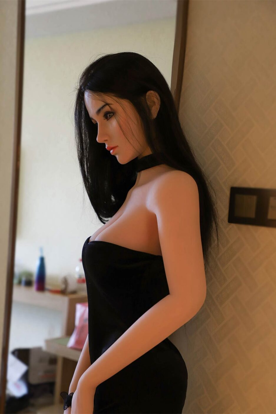 Silicone sex doll in black dress