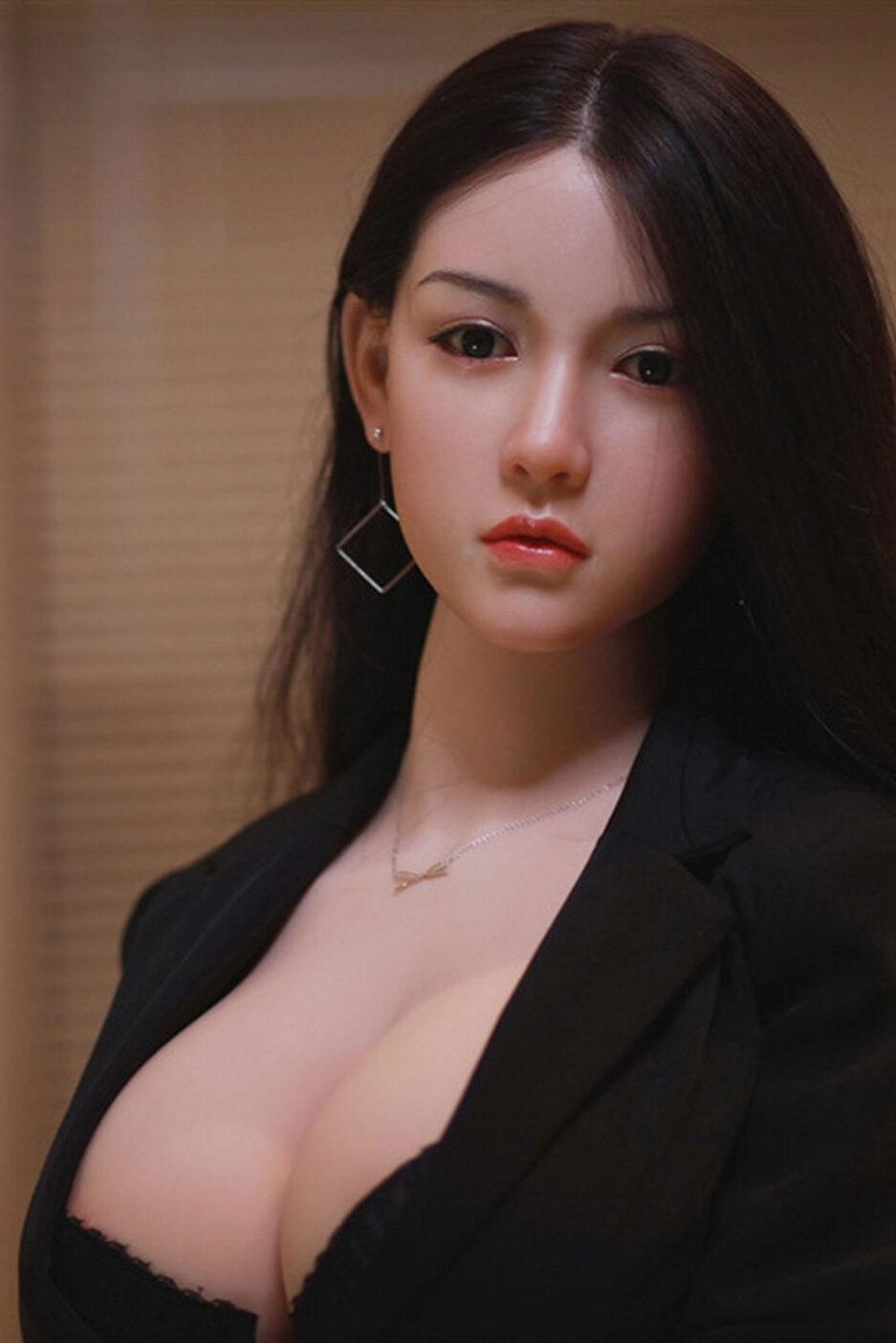 Silicone sex doll in black overalls