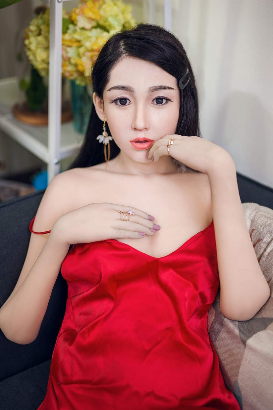 Silicone sex doll in red skirt