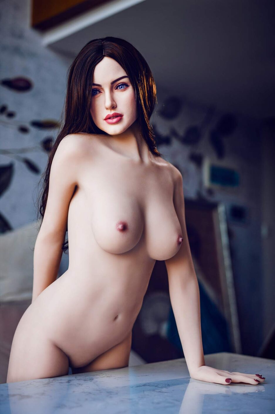Silicone sex doll with breasts exposed