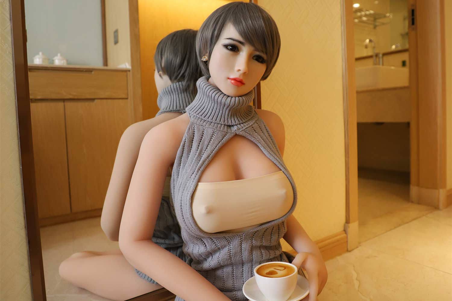 Silicone sex doll with coffee in hand