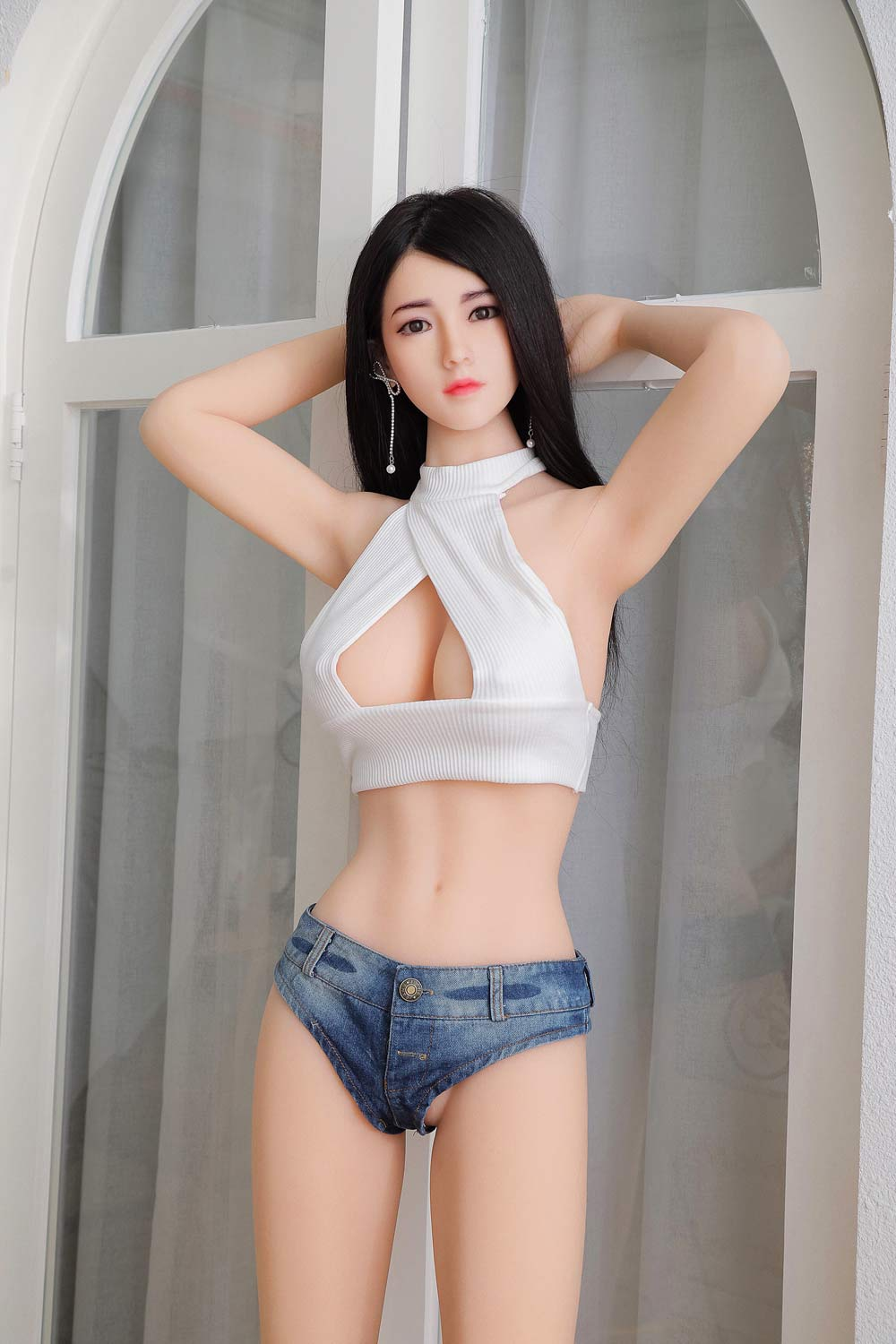 Silicone sex doll with hands holding head