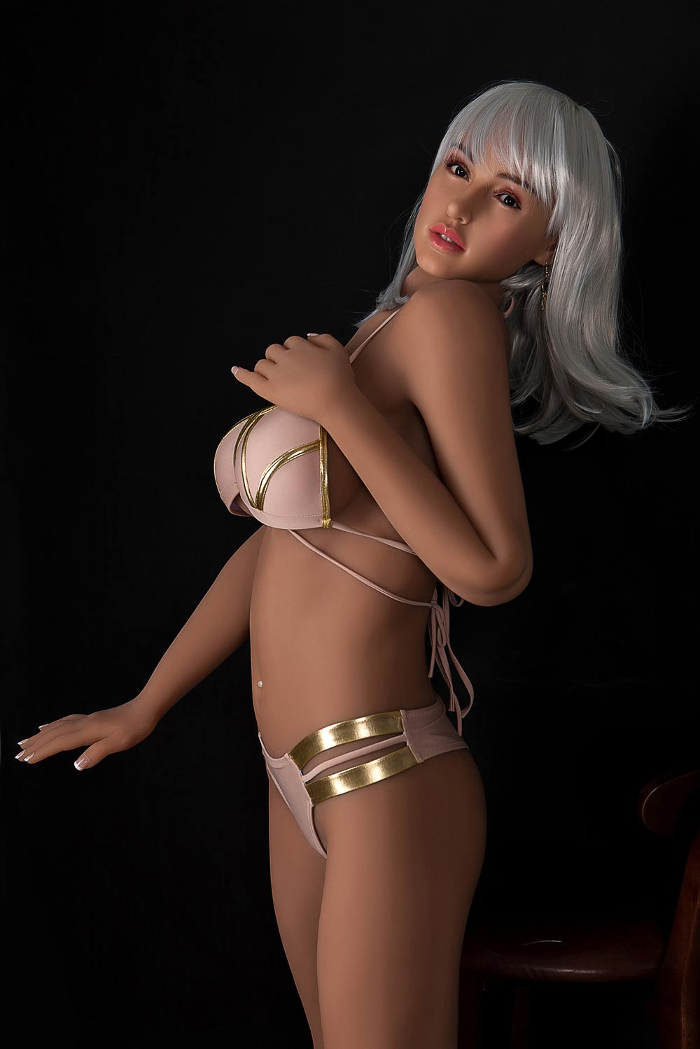 Silicone sex doll with hands on chest