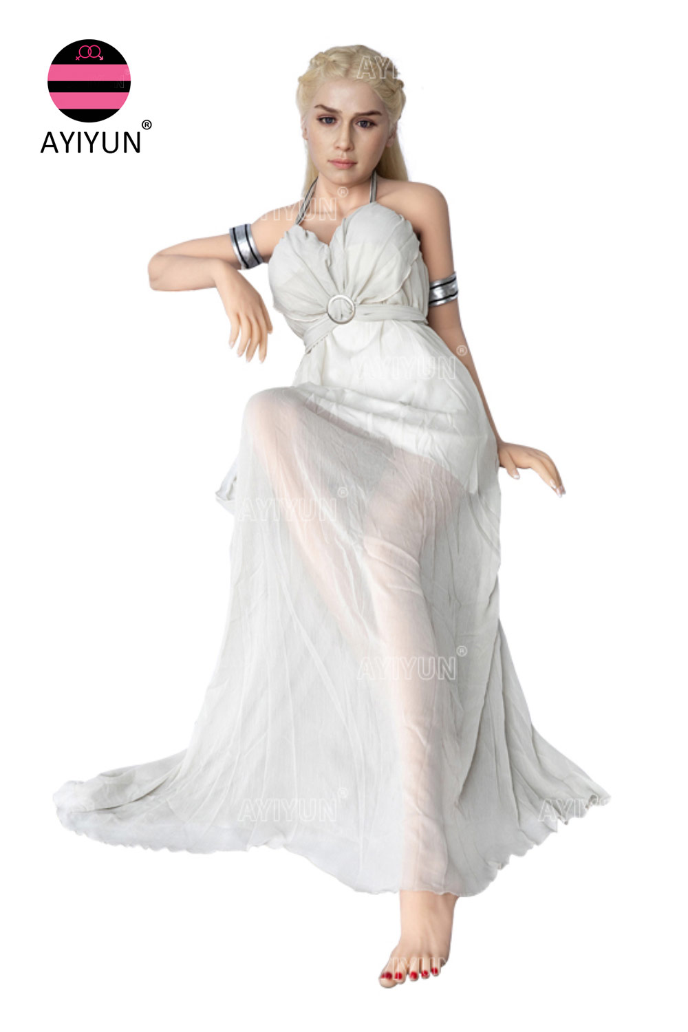 Silicone Sex Doll In A White Dress