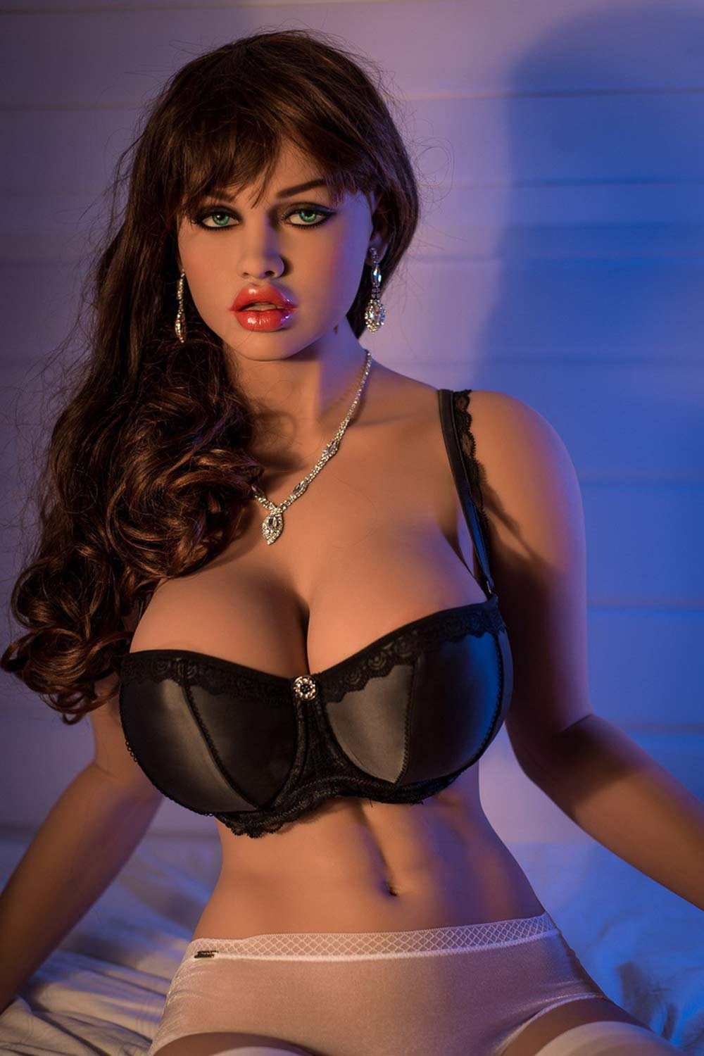 Big breasted sex doll in black bra