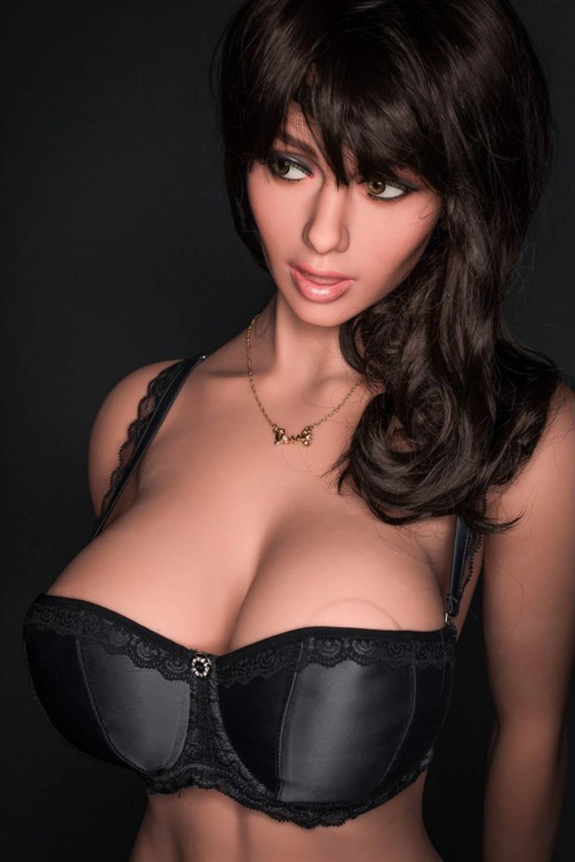 Big breasted sex doll in black bra