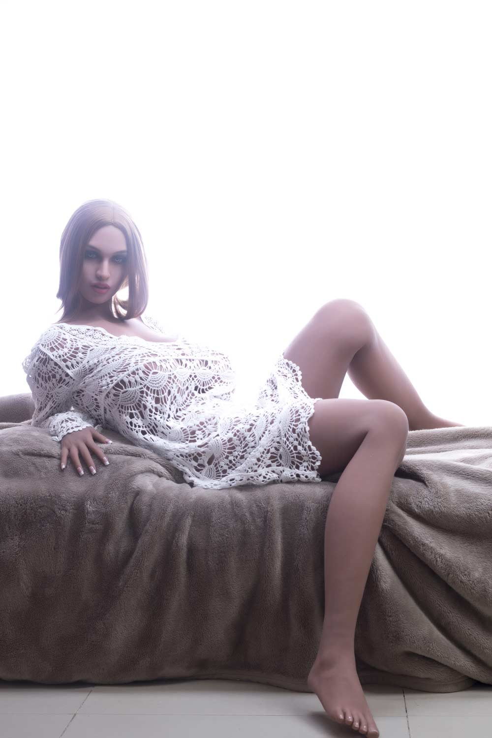 Big breasted sex doll in white mesh clothes