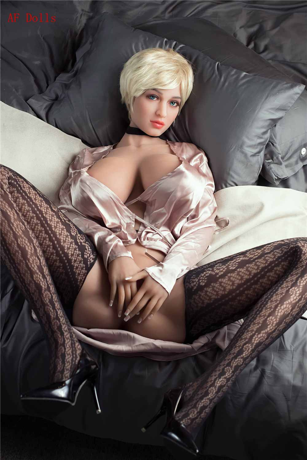 Big breasted sex doll with hands on lower body