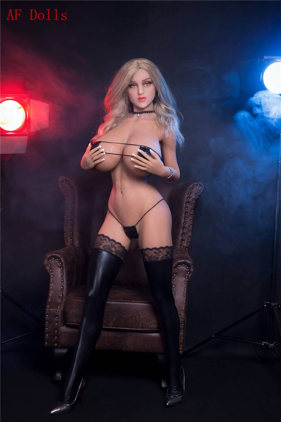 Big breasted sex doll with hands touching chest
