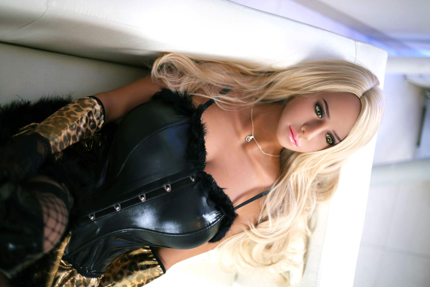 Big breasted sex doll with long blonde hair