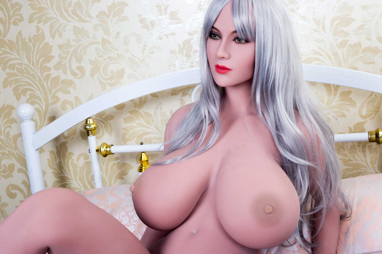 Gray long-haired sex doll