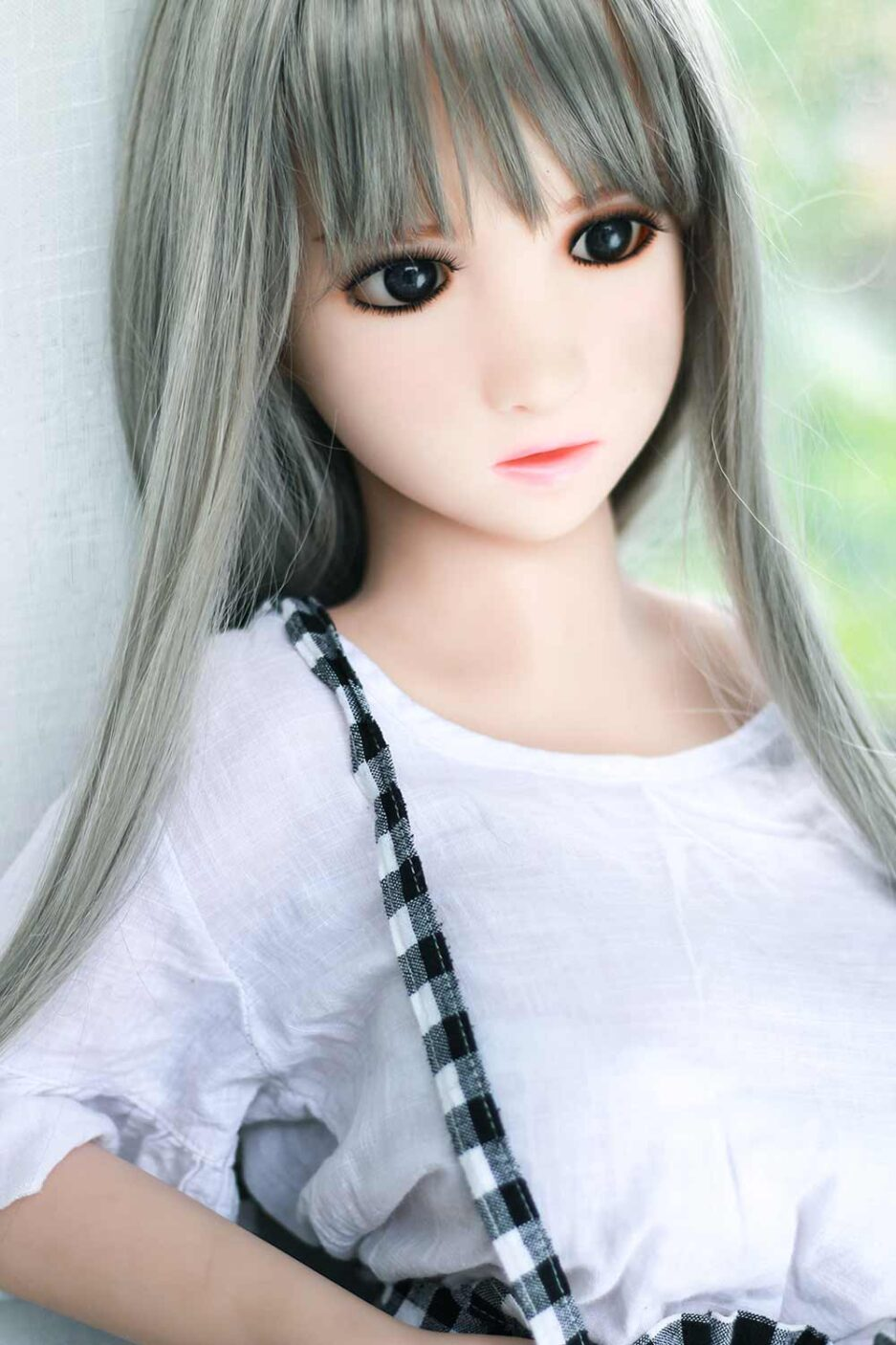 Grey-haired mini sex doll