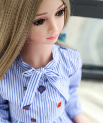 Mini sex doll in blue and white striped clothes