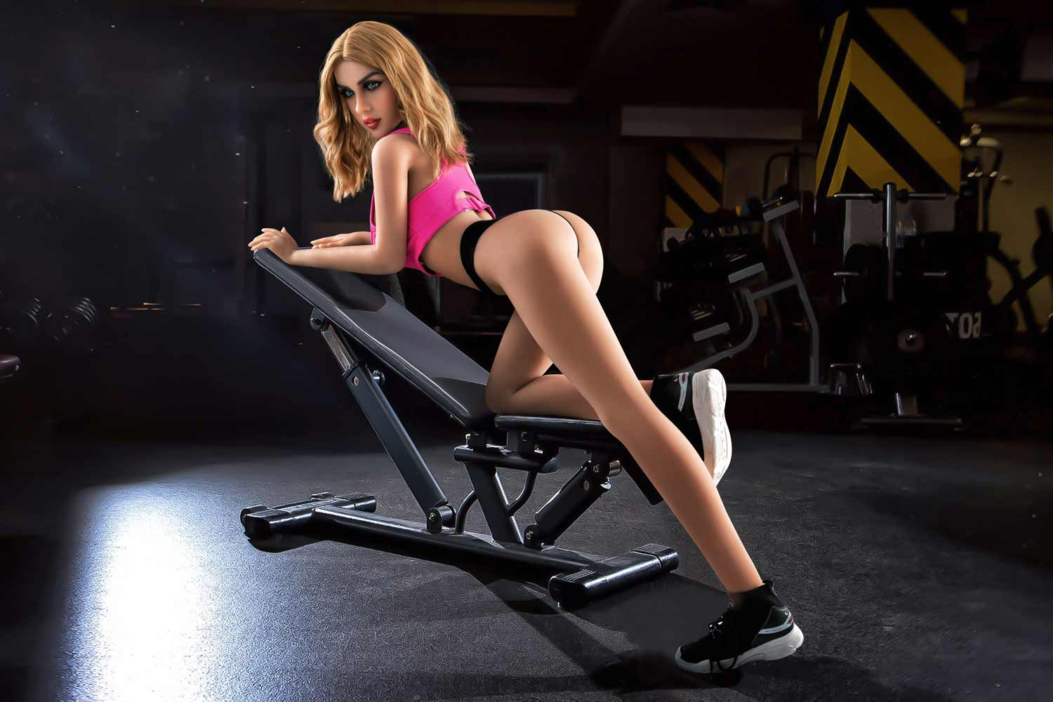 Sex doll kneeling in exercise chair