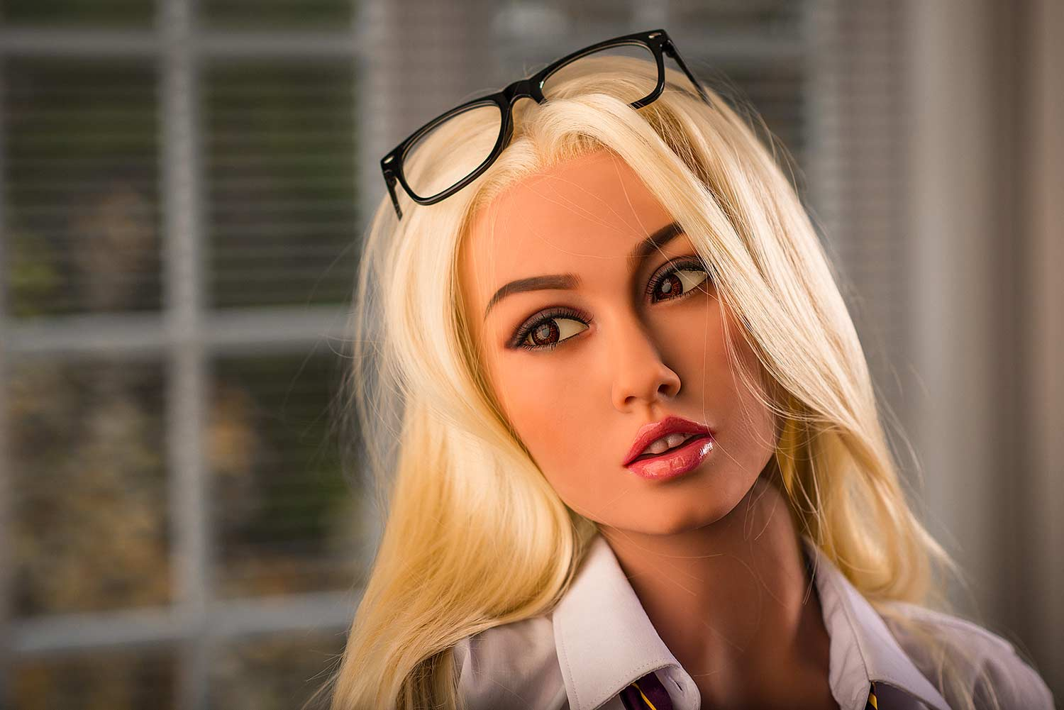 Sex doll with glasses on head