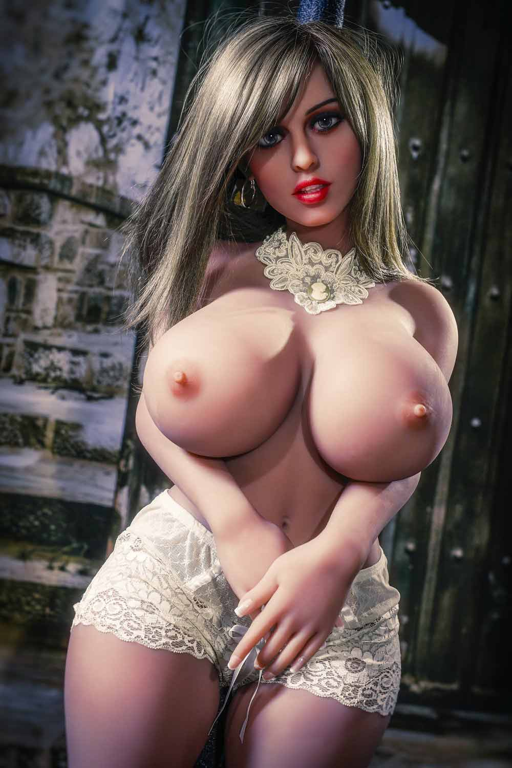 Sex doll with hands on belly