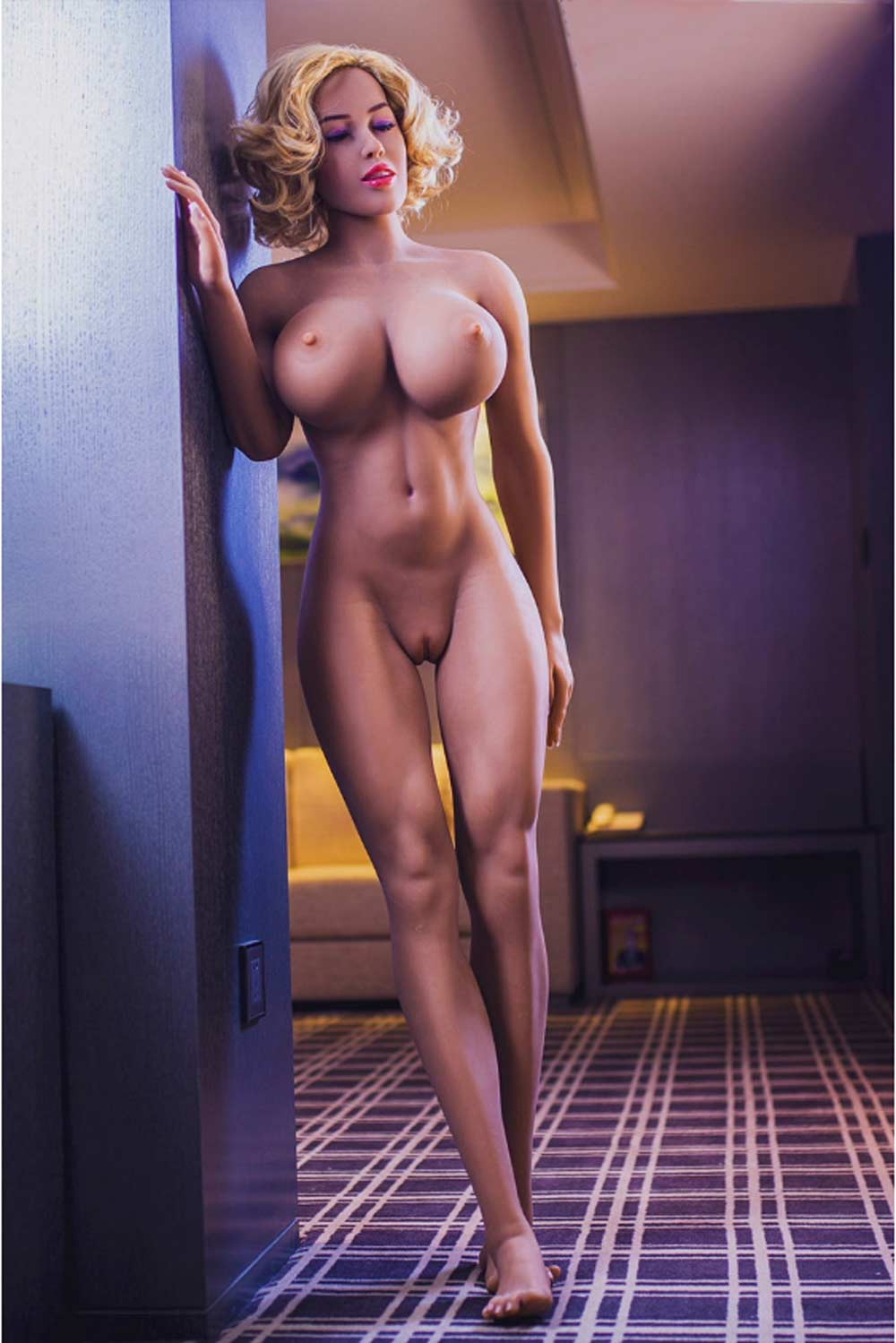 Sex doll with hands on the wall