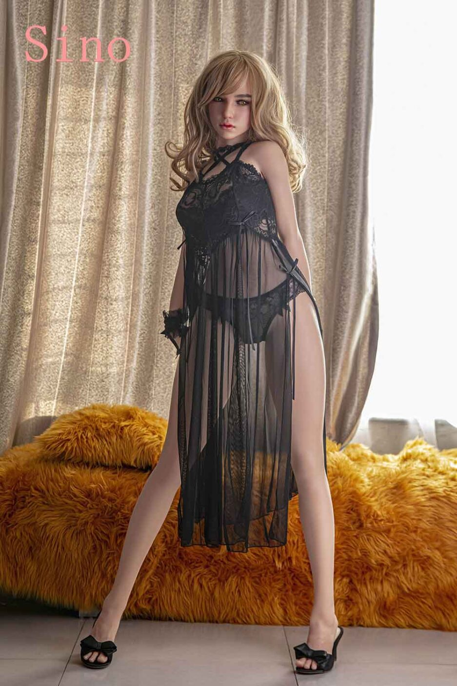 Silicone sex doll in black clothes