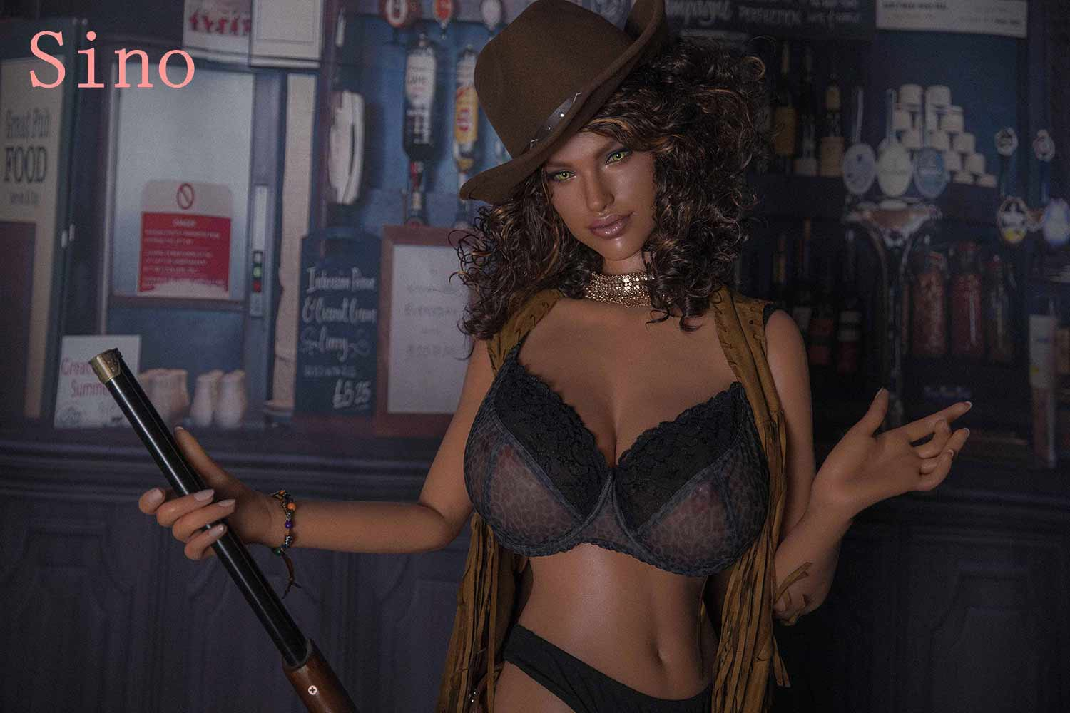 Silicone sex doll with brown hat