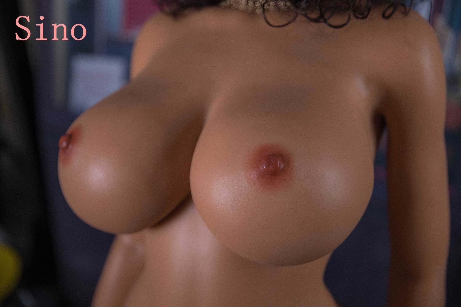 Silicone sex doll with brown nipples
