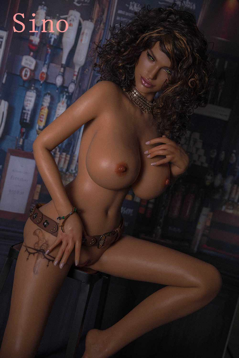 Silicone sex doll with hand on belt