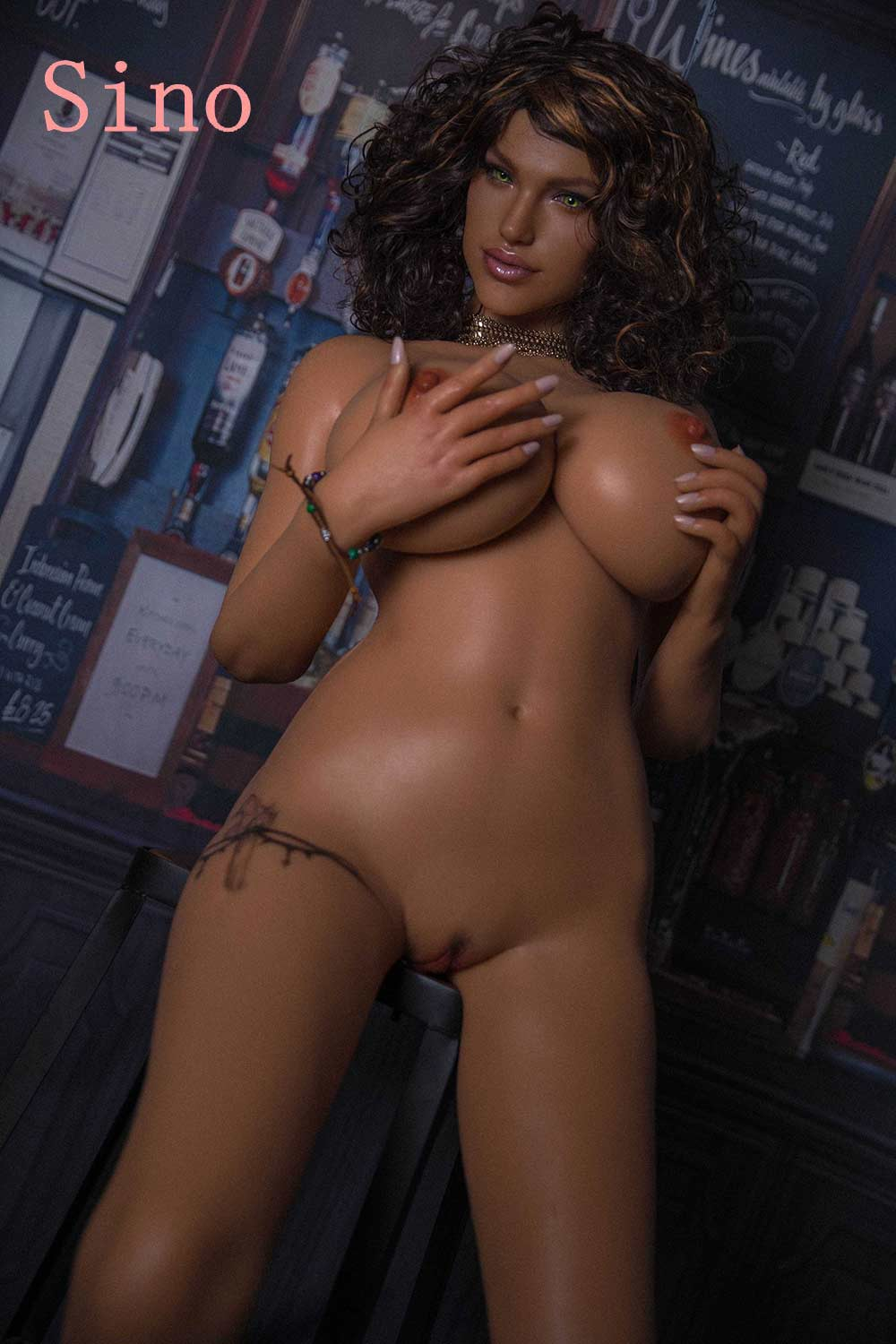 Silicone sex doll with hands touching chest