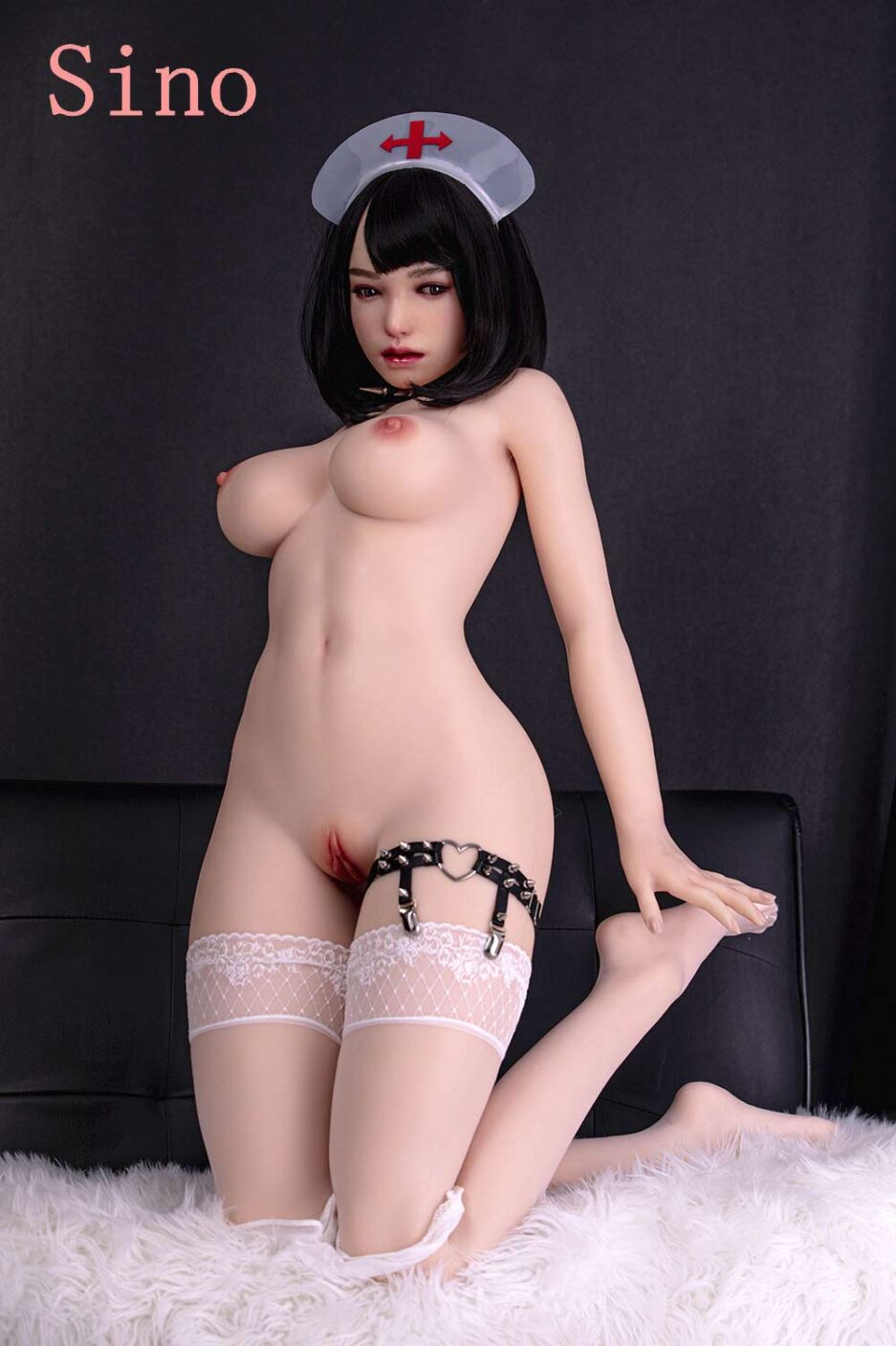 Silicone sex doll with hands touching feet