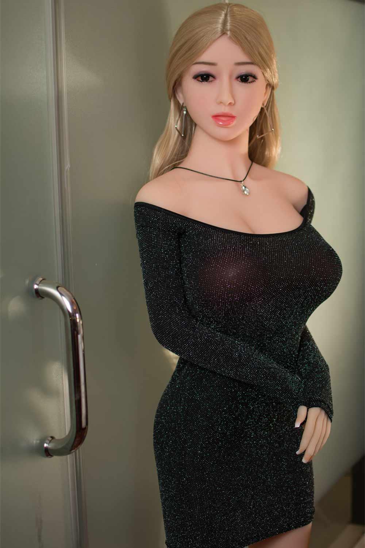 Sex doll in black tight skirt