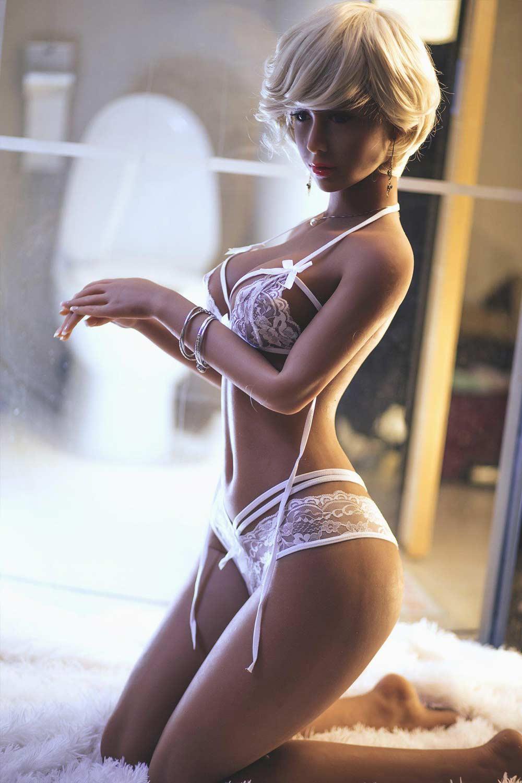 Sex doll in white erotic lingerie