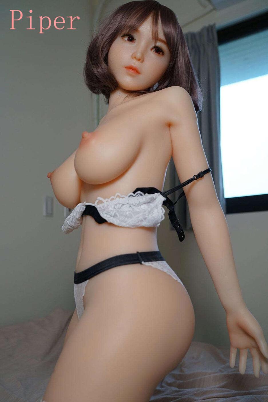 Sex doll in white lace underwear