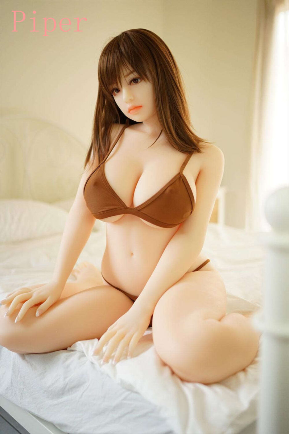 Sex doll with hand between thighs