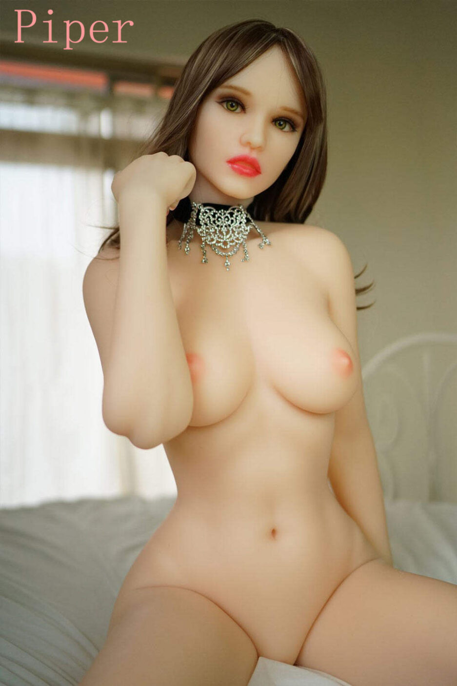 Sex doll with hand touching hair