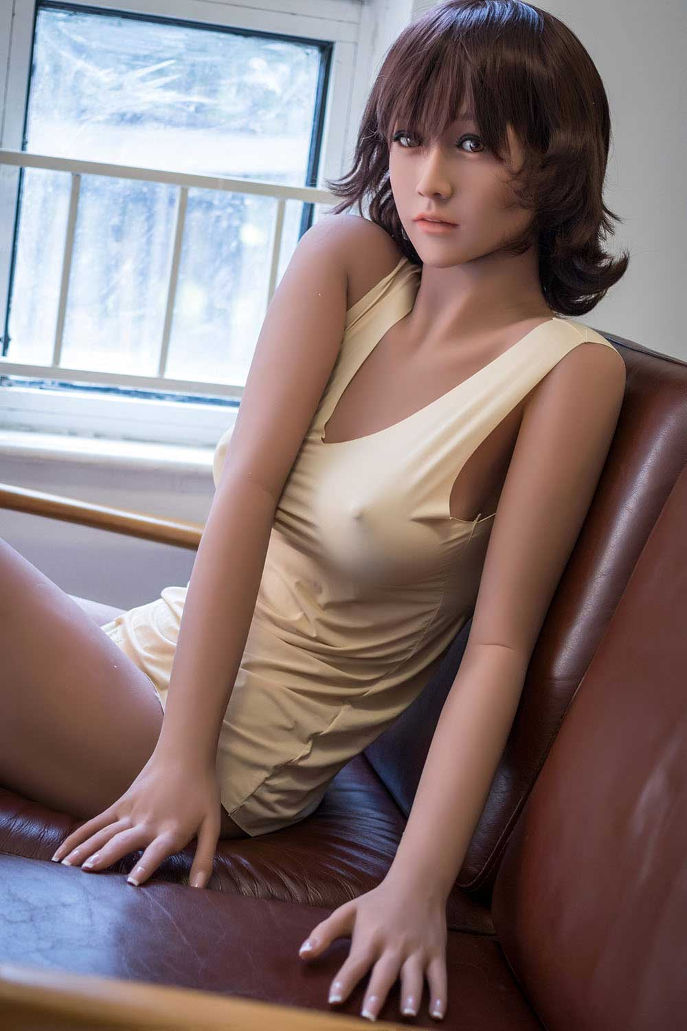 Short Hair Cute Girl Looking Sex Doll With Cup