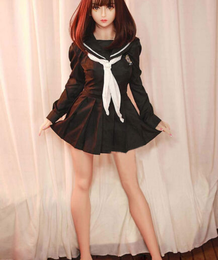 Anime sex doll with skirt horns in both hands