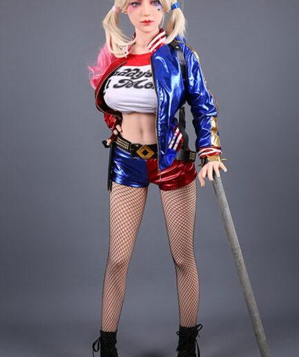 Cartoon sex doll holding a stick